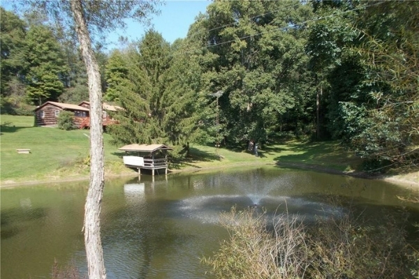 home in wooded area with pond in yard